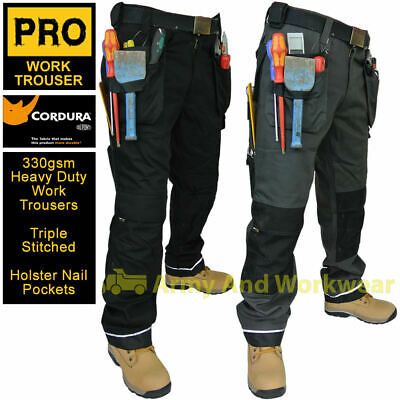 Triple Stitched Heavy Duty Tuff Canvas Pro Work Trouser Tool Pockets Pants Mens