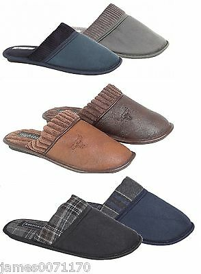 Mens Slippers Fur Lined Warm Slip On House Shoes Uk 7 8 9 10 11 12
