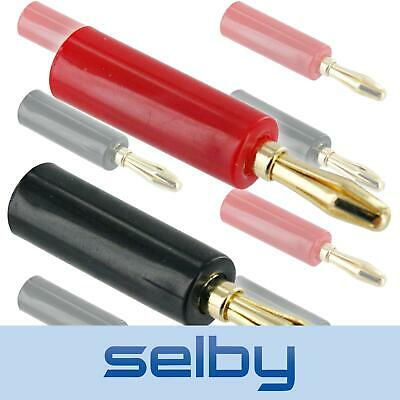 8 Pack Red Black Selby Banana Plugs Gold Plated Up To 14 AWG Speaker Cable DIY