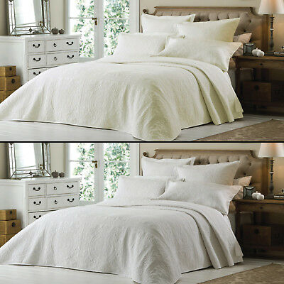 Luxury Embroidered Ivory Cream White Quilted Bedspread Bed Quilt Throw Cover New