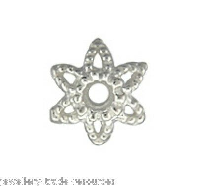 1x 925 sterling silver 9.6mm Round Star Bead Caps with 1.5mm Hole