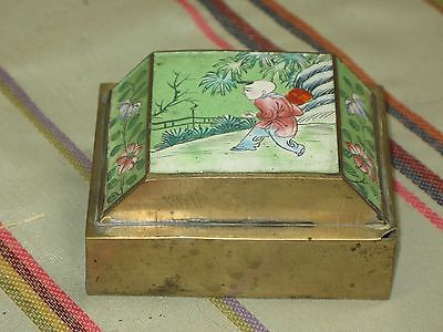 Antique Chinese Pictorial Opium Snuff Box Humidor Copper Canton Enamel on Metal