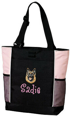 German Shepherd Embroidered Panel Tote