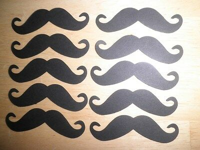 Black mustache die cuts Lot of 100 Hand punched Embellishments