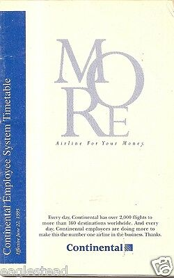 Airline Timetable - Continental - 22/06/95 - Employee System S
