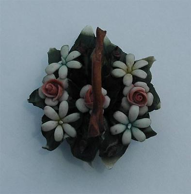 Beautiful Vintage Capodimonte Floral Basket With Roses & Daisies