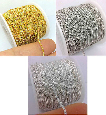 50 Yards Spool 1x2mm Plated On Tiny Curb Chain Trim For Necklace