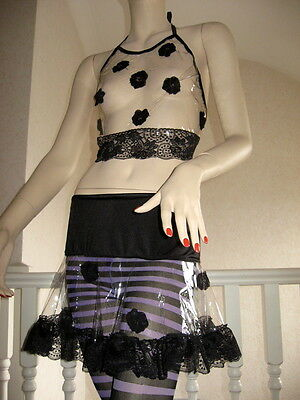 NEW Black Transparent clear Pvc Lace Floral Mini Skirt Fetish Gothic Party Gift