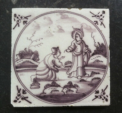 Antique Dutch Delft Tile Biblical 18TH. C.