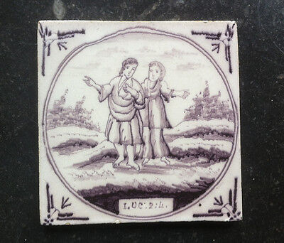 Antique Dutch Delft Tile Biblical TEXT: LUC:2:4: 18TH. C.