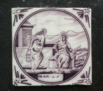 Antique Dutch Delft Tile Biblical TEXT: IOAN:4:5: 18TH. C.
