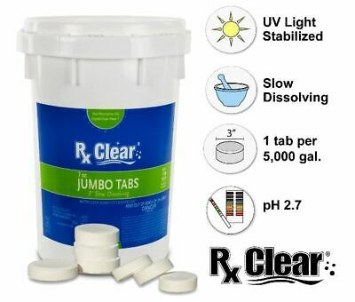"""Rx Clear® 3"""" Inch Dissolving Stabilized Chlorine Swimming Pool Tablets 50 lbs"""