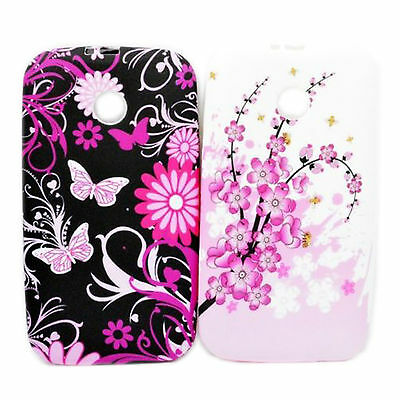2pcs Amazing  Silicone Back Case Soft Touch TPU Cover Skin For Motorola Moto E