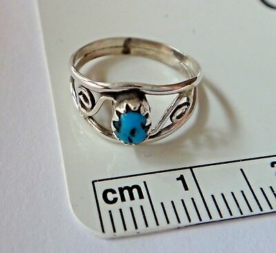 size 3.25 Sterling Silver Fancy 8mm wide top Turquoise Stone Baby o Pinkie Ring