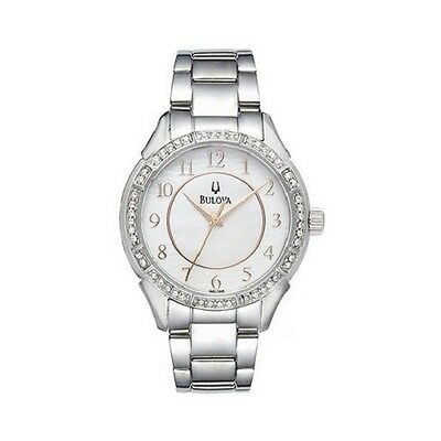 Bulova 96L146 Women's Mother of Pearl Dial Crystal Accented Bezel Watch