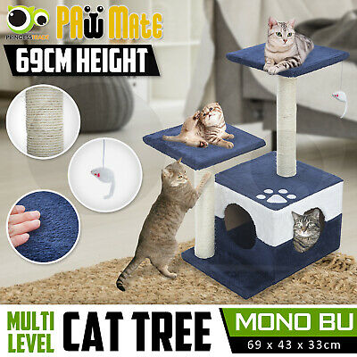 Cat Tree Scratching Post Scratcher Pole Gym House Furniture Multi Level 70cm BU