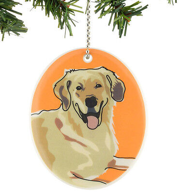 New GO DOG by PAPER RUSSELL Hanging Ornament GOLDEN RETRIEVER Puppy Stone Art