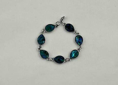 12x16mm Drops Clear Abalone Shell Bracelet 7.5''