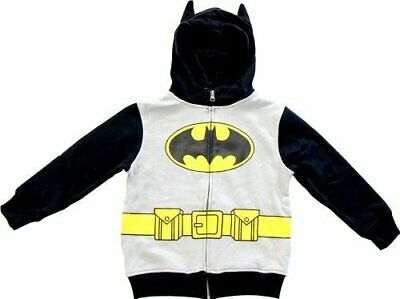 Boys Gray and Black DC Comics Hero Batman Logo Zip Up Costume Hoodie Sweatshirt