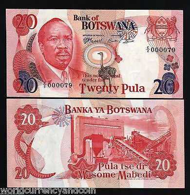 Botswana Africa 20 Pula P5B 1976 Low Serial # Bird Unc Rare Currency Money Note