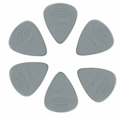 Jim Dunlop Standard Nylon .60mm Guitar Plectrums Six Pack Offer!