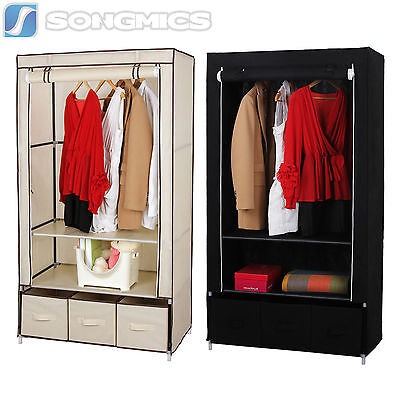 Songmics Canvas Wardrobe With Clothes Hanging Rail Shelves Storage With Drawers