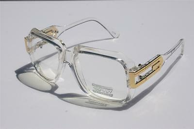 Clear frame Clear Lens Gazelle Style Sun Glasses Gold Metal Accents Dmc Square -