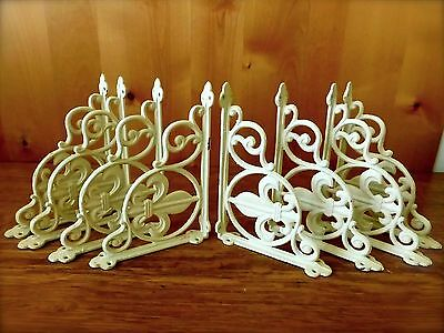 "8 WHITE ANTIQUE-STYLE 9"" SHELF BRACKETS CAST IRON garden FINIAL FLEUR DE LIS"