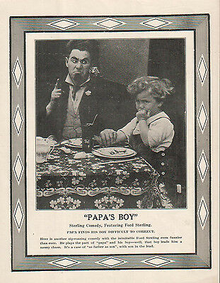 Ford Sterling Billy Jacobs 1914 Ad- Papa's Boy