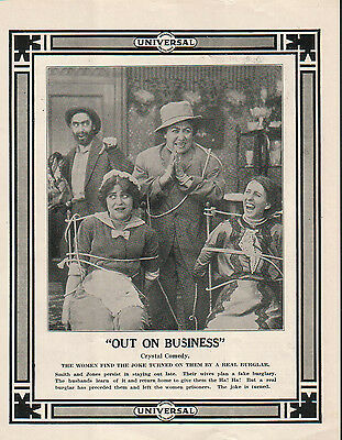 Vivian Prescott Charles De Forrest 1914 Ad- Out On Business   Crystal comedy