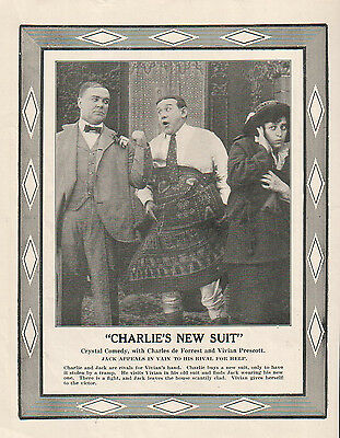 Charles DeForrest Vivian Prescott 1914 Ad- Charlie's New Suit/Crystal Comedy