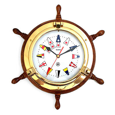 Wall Clocks - Ships Wheel Brass Porthole Wall Clock With Signal Flags Dial Face