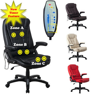 RayGar Executive Leather 6 Point Massage & Reclining Office Computer Chair Seat