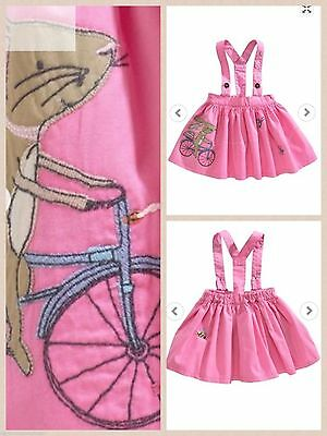 Bnwt NEXT Girls Pink Bunny Applique Skirt with detachable Braces 3-4-5-6 yr CUTE