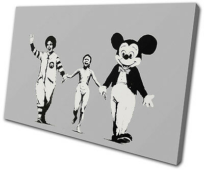 Banksy American Influence SINGLE CANVAS WALL ART Picture Print VA