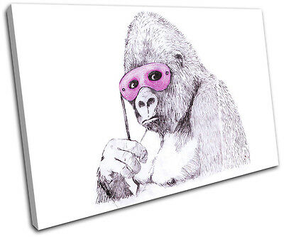Monkey Mask Banksy Painting SINGLE CANVAS WALL ART Picture Print VA