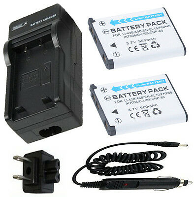 Battery (2) + Charger for Olympus Stylus 550WP, 720SW,725SW,770SW Digital Camera