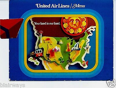 United Airlines Coach Menu-This Land Is Our Land-Chicago 1970's