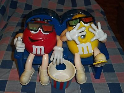 M & M Candy Dispenser Red Yellow Watching Movie Popcorn 3-D Glasses 9 Inch  Wide