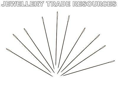 100 x Beading Needles for Stringing & Threading Beads & Pearls 0.46mm Size 10