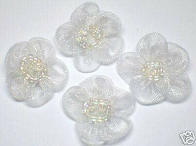 Organza Beaded Flower Appliques x 60 White - Bridal Craft