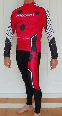 Mens Jaggad Cycling Bike MTB Long Sleeve Jersey Long Knick pants set M-XXL RED