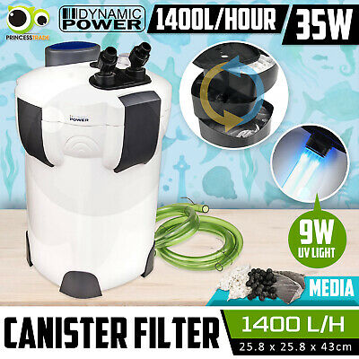Aquarium External Canister Filter Aqua Fish Tank UV Light +MEDIA KIT 1400L/H