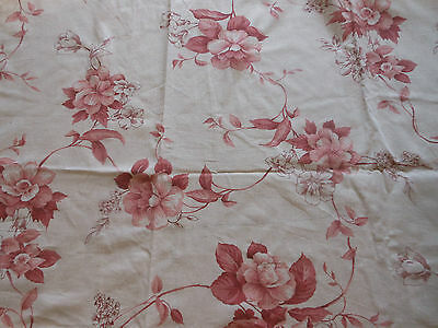 Vintage French Sketchbook Floral Cotton Fabric ~ Coral Rose~ Time Softened