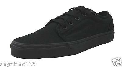 VANS Off The Wall 106 Vulcanized All Black Canvas Shoes Men size 8.5 Sneakers