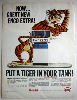 1964 Humble Oil - Enco Extra - Put A Tiger In Your Tank Print Ad!