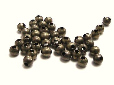 200 Pcs - 3.2mm Smooth Antique Bronze Spacer Beads Craft Findings Beading A182