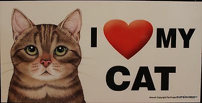 Brown Tabby Cat Magnet Car Display Anywhere Love Heart Kitty Refrigerator