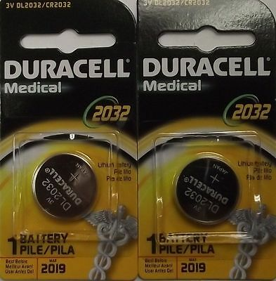 Duracell 3V DL2032 / CR2032 Lithium Battery 2 Pieces Date 2019