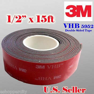 """3M 1/2"""" x 15 ft  VHB Double Sided Foam Adhesive Tape 5952 Automotive Mounting"""